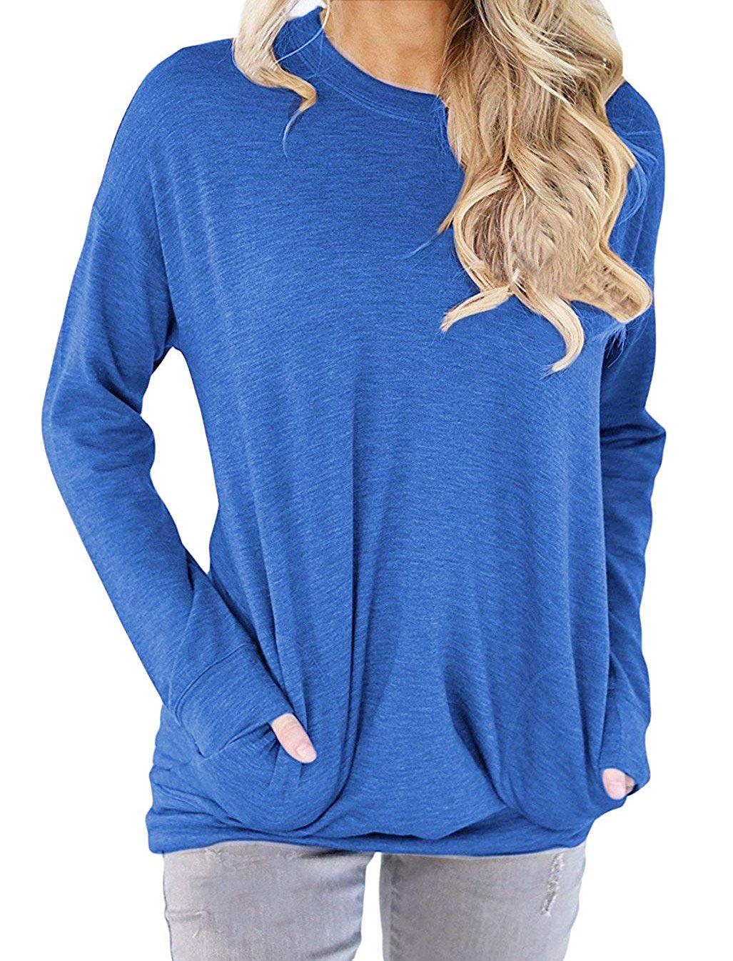 GSVIBK Women Casual Round Neck Sweatshirts Long Sleeve Pullover Shirts Tops Soft Sweatshirts Blouse Pocket Blue M