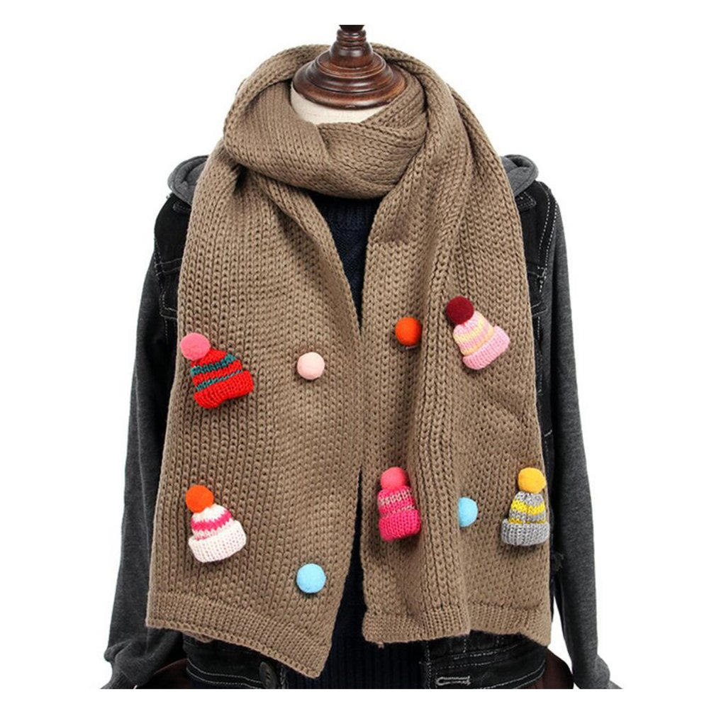 ZSY FOR U Kintted Scarves,Unisex Winter Warmer O Ring Neck Scarf wrap Free Colors With Hat Decor