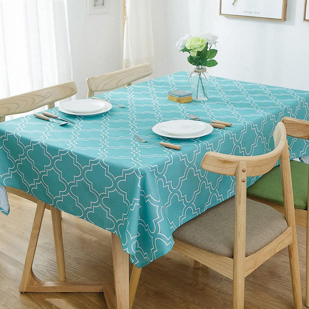 """Lamberia Tablecloth Waterproof Spillproof Polyester Fabric Table Cover for Kitchen Dinning Tabletop Decoration (Acid Blue, 60""""x102"""")"""