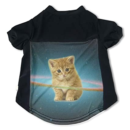 ab6a416ebf8 Amazon.com: Fbve5dg Cosy Galaxy Hipster Cat Pet T-Shirts for Puppies ...