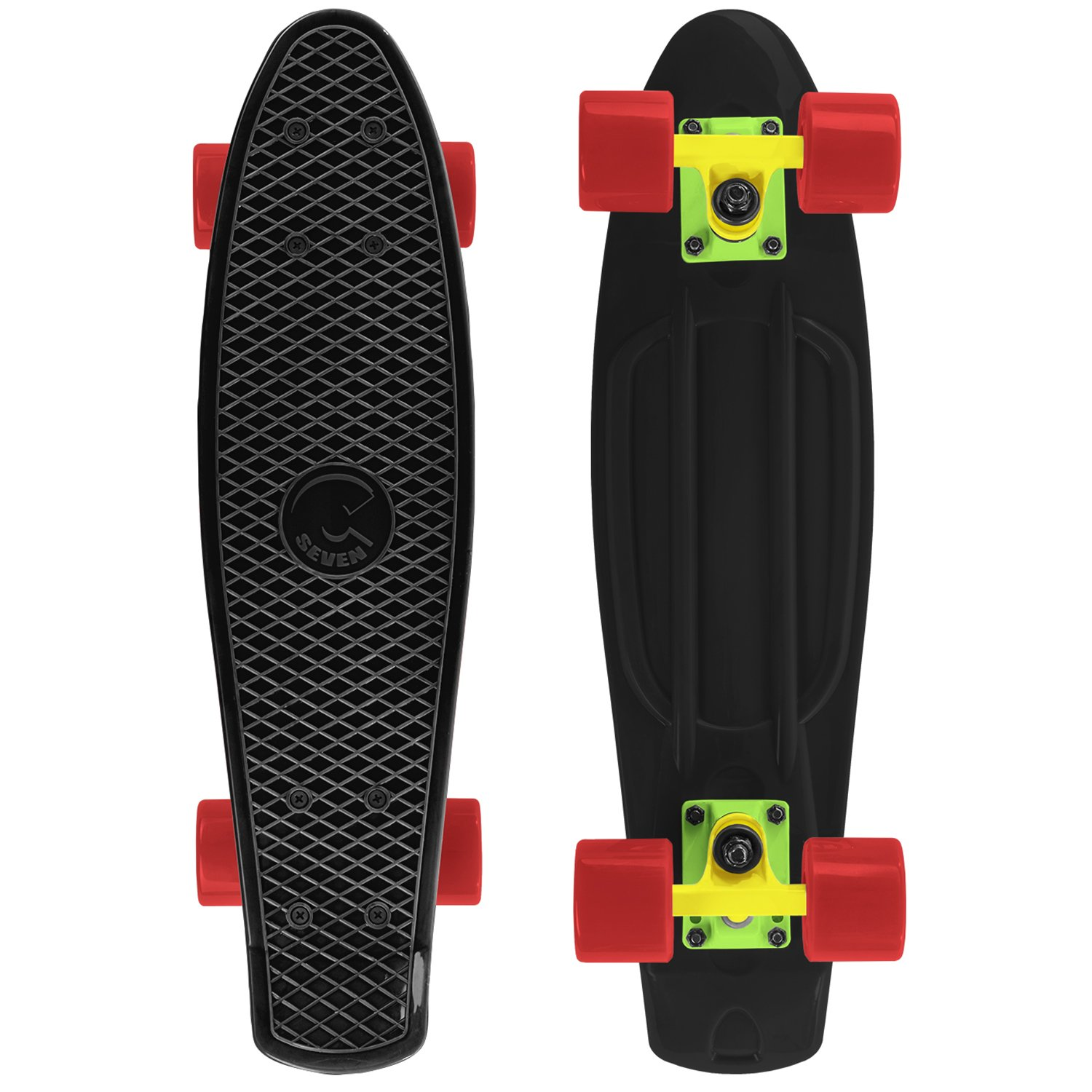 Cal 7 Complete Mini Cruiser Skateboard, 22 Inch Plastic in Retro Design (Black, Yellow, and Red) by Cal 7
