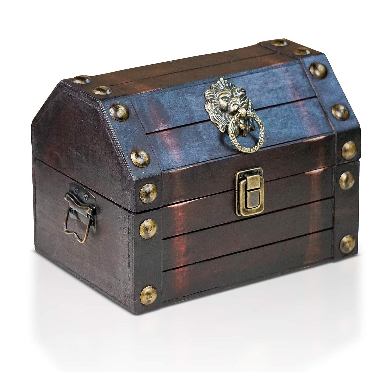 Brynnberg wooden pirate treasure chest Lionshead S 22x16x16cm decorative storage box - Vintage decoration handmade