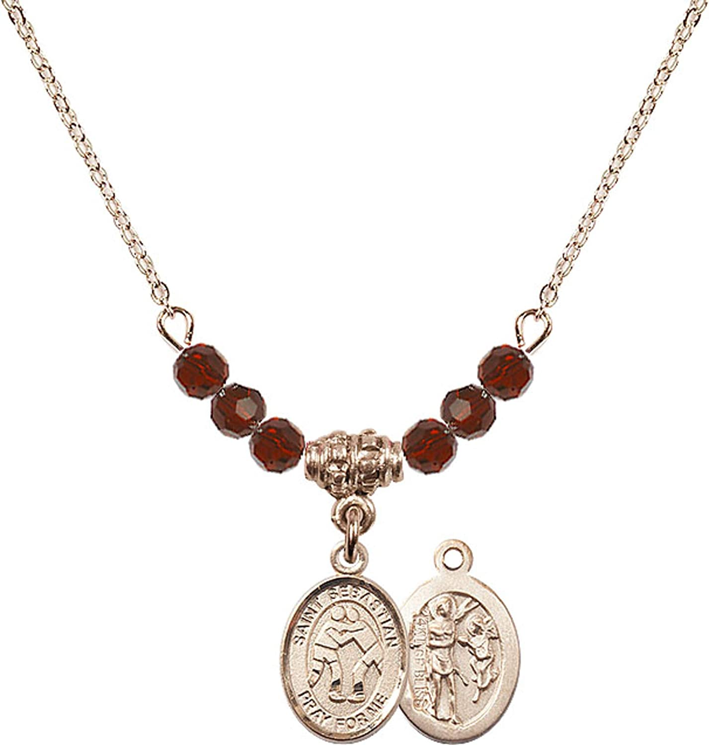Bonyak Jewelry 18 Inch Hamilton Gold Plated Necklace w// 4mm Red January Birth Month Stone Beads and Saint Sebastian//Wrestling Charm