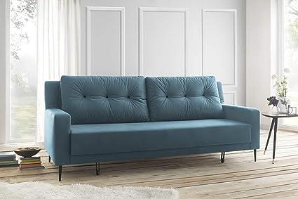 bas prix 8b87e 00df1 Bobochic BERGEN Canapé de 3 places convertible Turquoise 222 x 92 x 90 cm