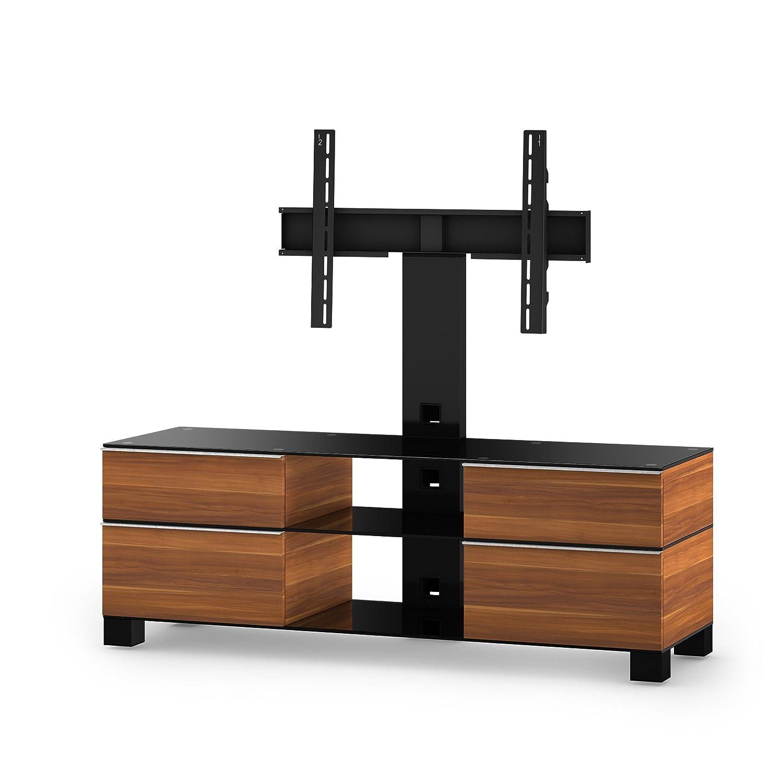 Sonorous MD 8240-B-HBLK-APL Fernseher-Möbel mit Schwarzglas (Aluminium Hochglanz, Korpus Holzdekor) apfel/schwarz