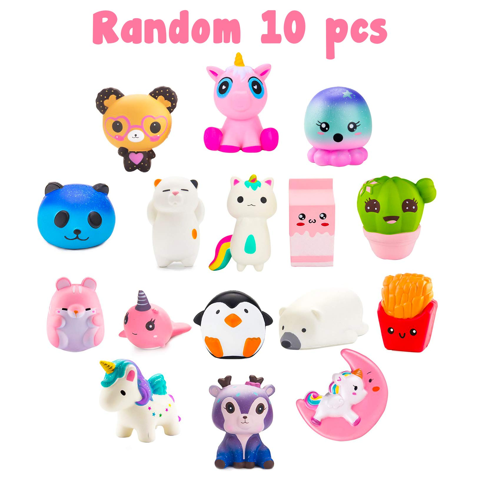 BeYumi Slow Rising Toy, Unicorn, Panda, Deer, Cat Squishy Toy, Kawaii Jumbo 10 Pcs Cream Scented Simulation Cute Animal & Food Squeeze Toys for Collection Gift, Decorative props Large or Stress Relief by BeYumi (Image #3)