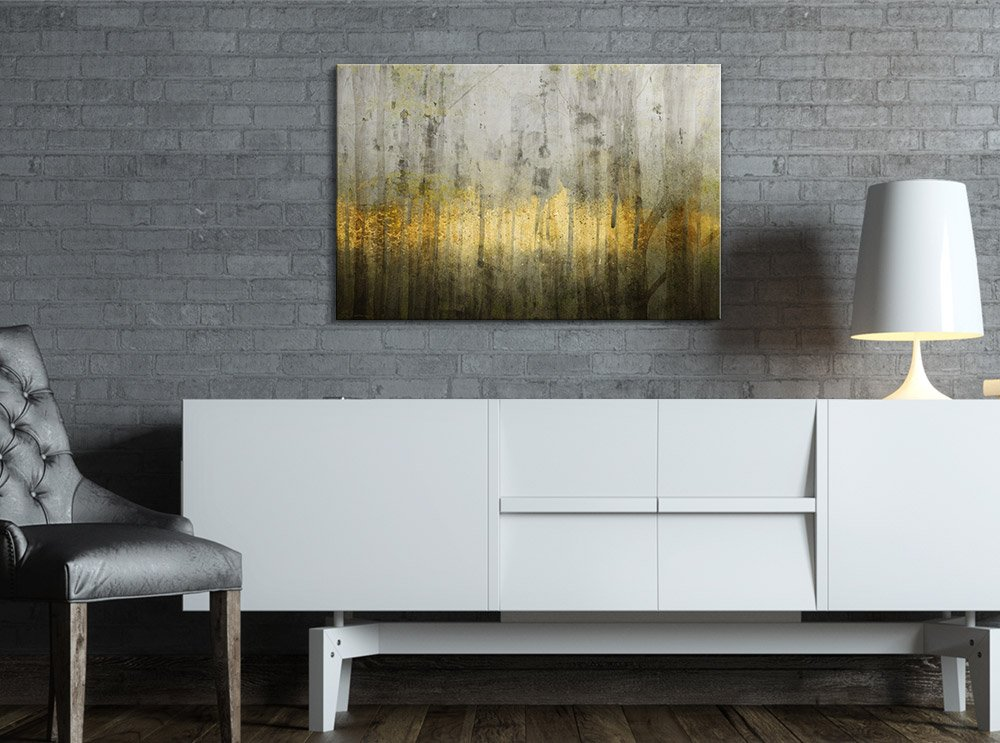 Canvas Print Wall Art - Abstract Grunge Wall with Golden Paints - Gallery Wrap Modern Home Art | Ready to Hang - 32