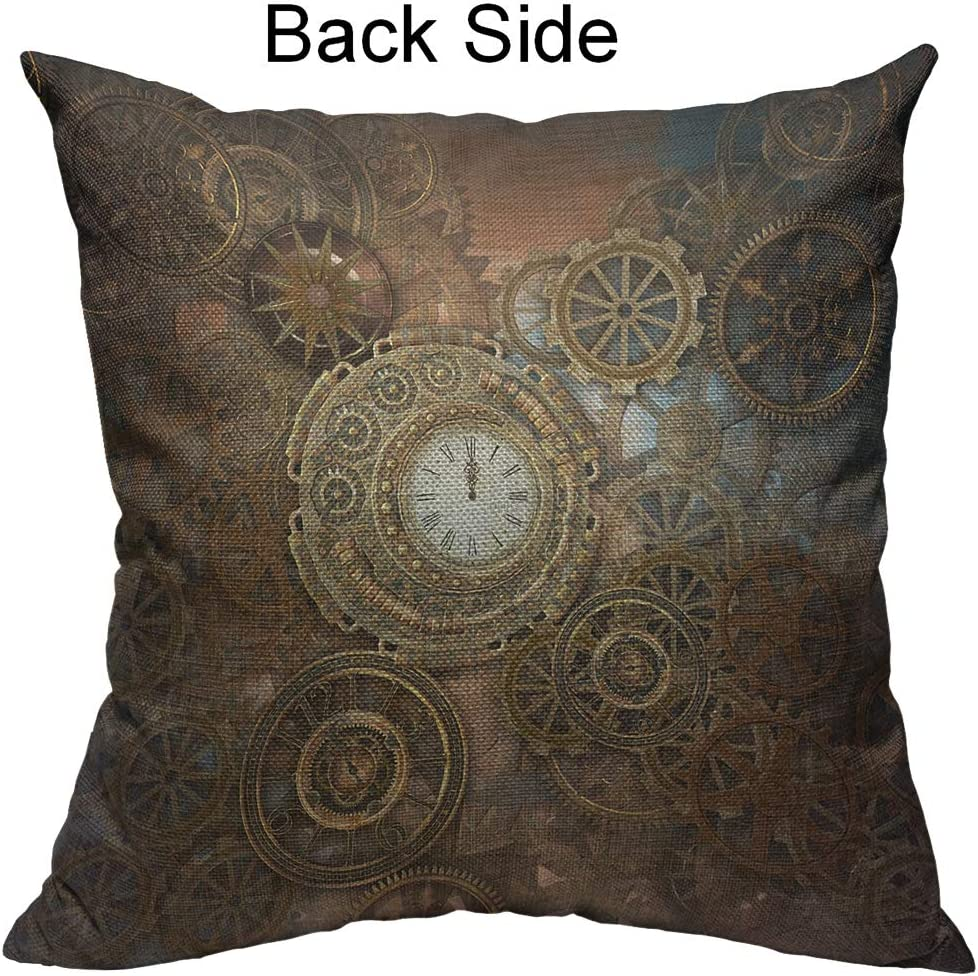 Amazon Com Mugod Clock And Gears Decorative Pillow Case Rusty Steampunk Clock And Gears Bronze Old Vintage Throw Pillow Cover Home Decor Cotton Linen Square Cushion Cover For Couch Bed Sofa 16x16 Inch