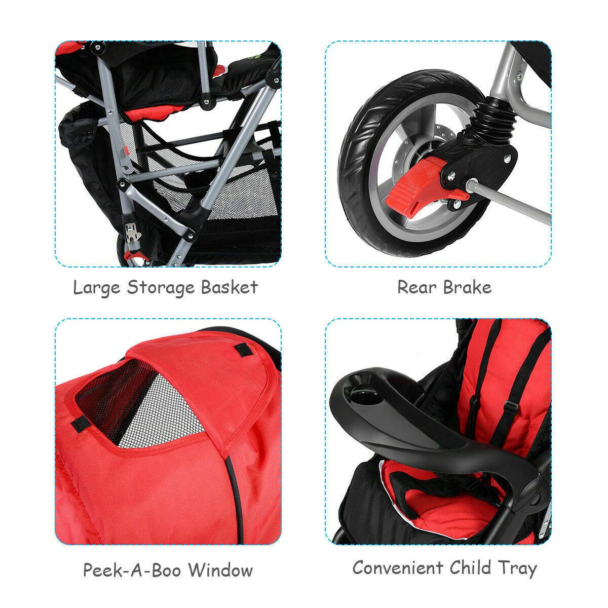 Cozinest Foldable Twin Baby Double Stroller Kids Jogger Travel Infant Pushchair Red by Cozinest (Image #3)