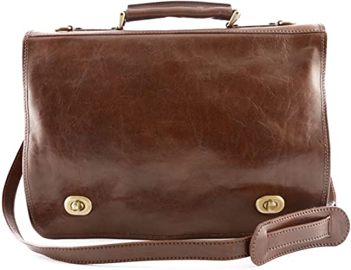 Business Briefcase in Genuine Leather 2 Compartments Color Brown