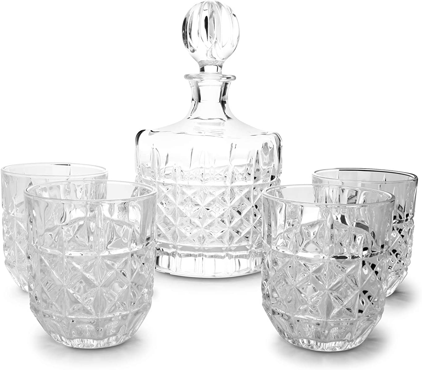 Finest Crystal Glass Carafe with 4 Glasses Salt/&Pepper Whisky Set Glasses 5 Pieces 4X Glasses 28cl// 9.4 oz and 1x Carafe 1.1L// 37.19 oz in Transparent Glass with a Vintage Design