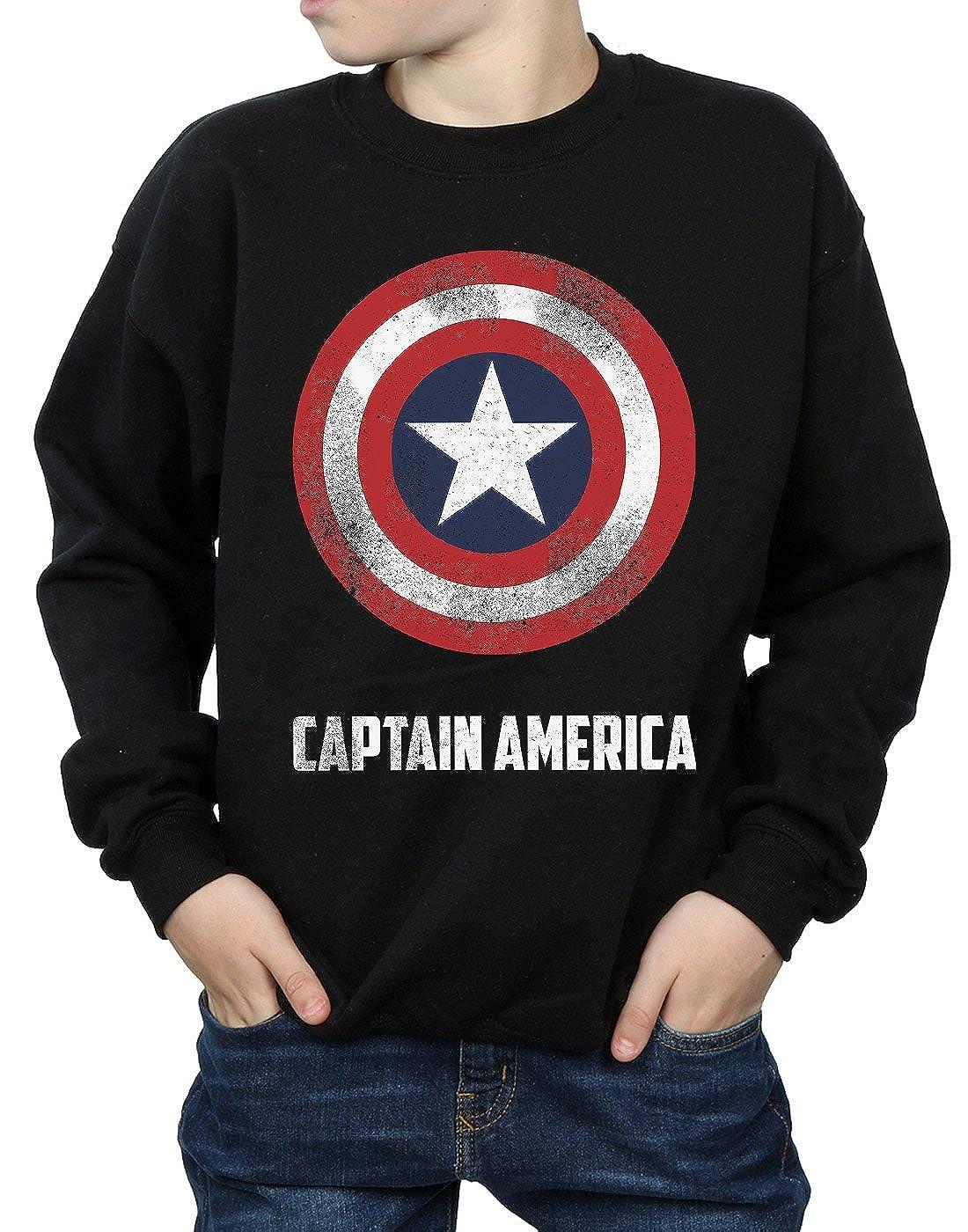 Marvel Gar/çon Captain America Shield Text Sweat-Shirt