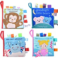 Adpartner Cloth Book for Baby, 4-Pack Soft Activity Crinkle Fabric Books for Infants Early Education, Baby's First Book…