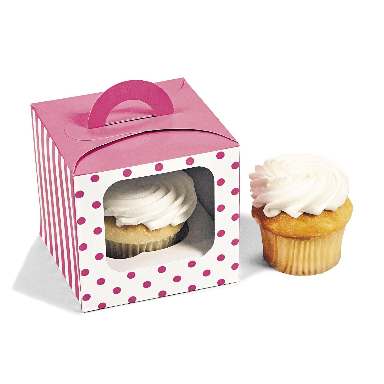 Candy Pink Polka Dot Cupcake Boxes