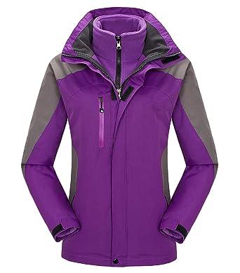 28e4188477 Fuwenni Women s Waterproof Ski Jacket Windproof Outdoor Mountain Winter  Fleece 3-in-1 Snow