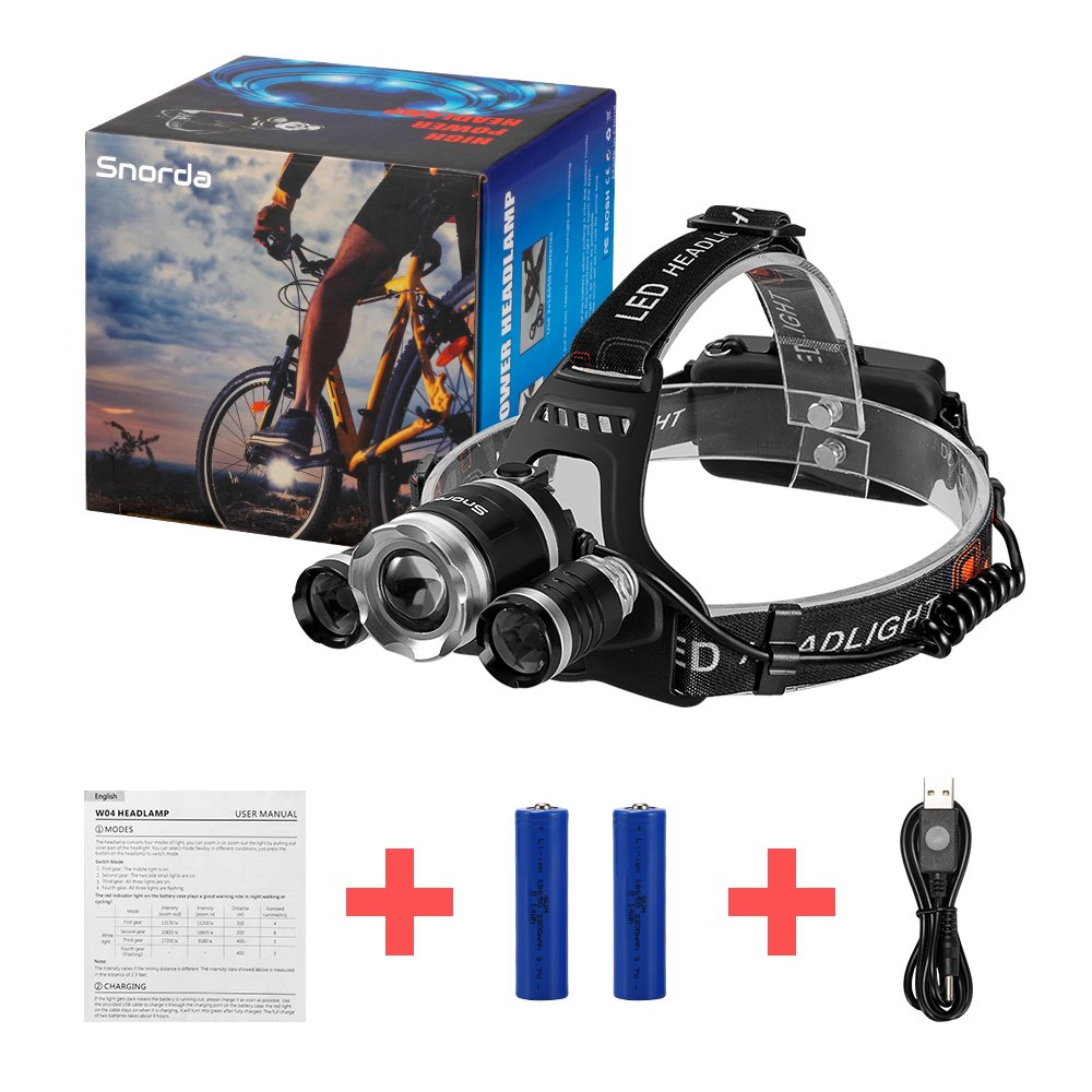 Brightest LED Headlamp, Snorda Zoomable Head Light with 6000 Lumen CREE LED, 4 Modes for Camping Fishing with 18650 Rechargeable Batteries by Snorda (Image #10)