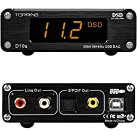 TOPPING D10s DAC Mini USB DAC XMOS XU208 ES9038Q2M DSD256 PCM 384kHz Hi-Res Audio Desktop Audio Decoder (Black)