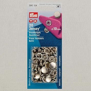 Nähfrei Druckknöpfe Jersey 10 mm Kappe Silber 390 104 Nachfüllpack