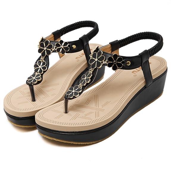 DQQ Damen Sandalen mit Schaumstoff-Keilabsatz und Zehentrenner, schwarz - 1 - Größe: 37.5