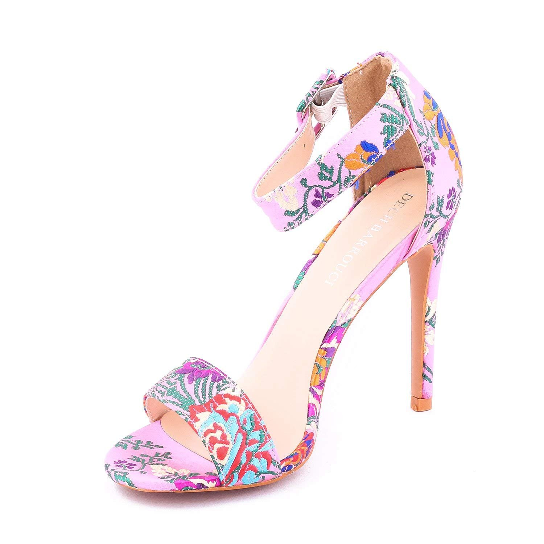 9482ab22800a5 Dech Barrouci Embroidered Pink Sandals Stiletto High Heels ...