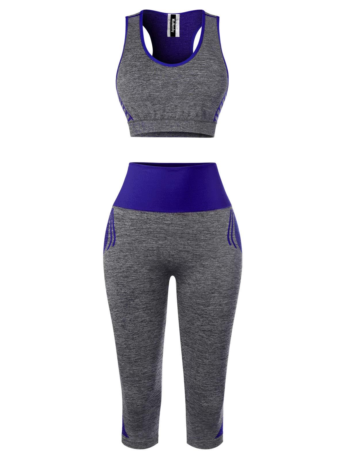 MixMatchy Women's Sports Gym Yoga Workout Activewear Sets Tank Crop Top & Capri Leggings Set Royal ONE by MixMatchy