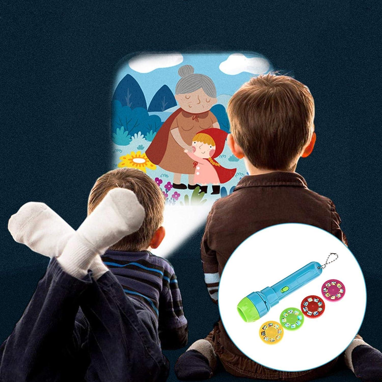 Earlyad Story Projection Torch Taschenlampe Luminous Toy 4 M/ärchenfilme 32 Folien Tolles P/ädagogisches Spielzeuggeschenk F/ür Jungen Und M/ädchen