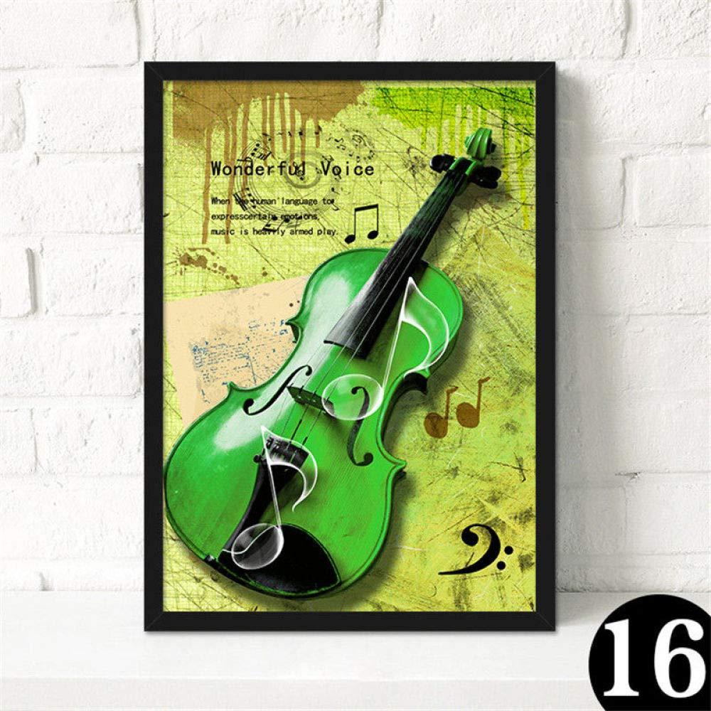 zgmtj Nordic Retro Music Bar Lienzo Pintura Guitarra Rock Poster ...