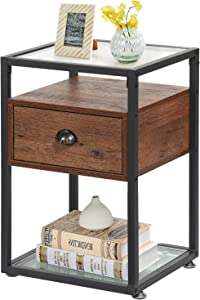 VECELO Modern Side, Nightstand, Tempered Glass End Table, Cabinet with Drawer and Rustic Shelf, Decoration in Living Room,Bedroom,Lounge-Walnut Brown