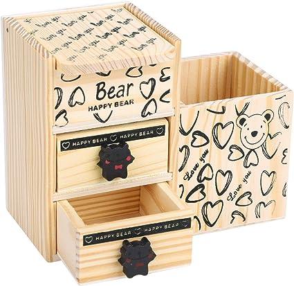 Caja de almacenamiento de madera para lápices, organizador de ...
