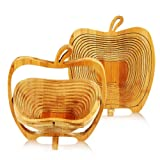 Apple Shaped Fruit and Egg Basket, Bamboo Folding Basket, Collapsible Fruit Bowl, Stores Flat