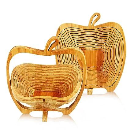 Apple Shaped Fruit And Egg Basket Bamboo Folding Basket Collapsible Fruit Bowl Stores Flat
