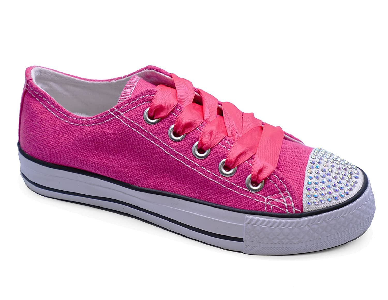 Girls Kids Childrens Pink Canvas Diamante Lace-Up Plimsoll Pumps Shoes  Sizes 11-3: Amazon.co.uk: Shoes & Bags