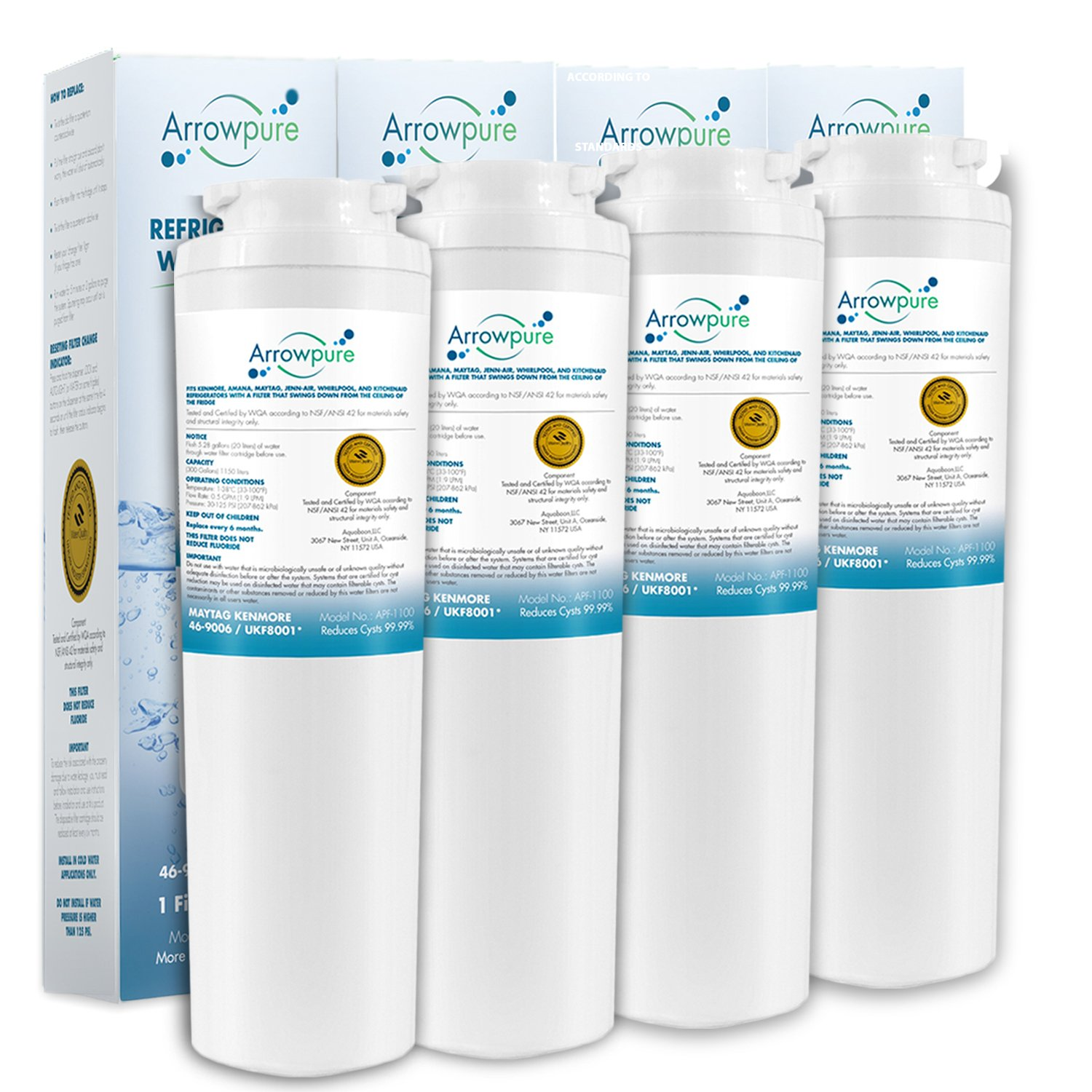 4 Pack Refrigerator Water Filter Replacement by Arrowpure | Certified According to NSF 42&372 | Compatible with Maytag UKF8001, UKF8001AXX, UKF8001P, EDR4RXD1, 4396395, Puriclean II, Kenmore