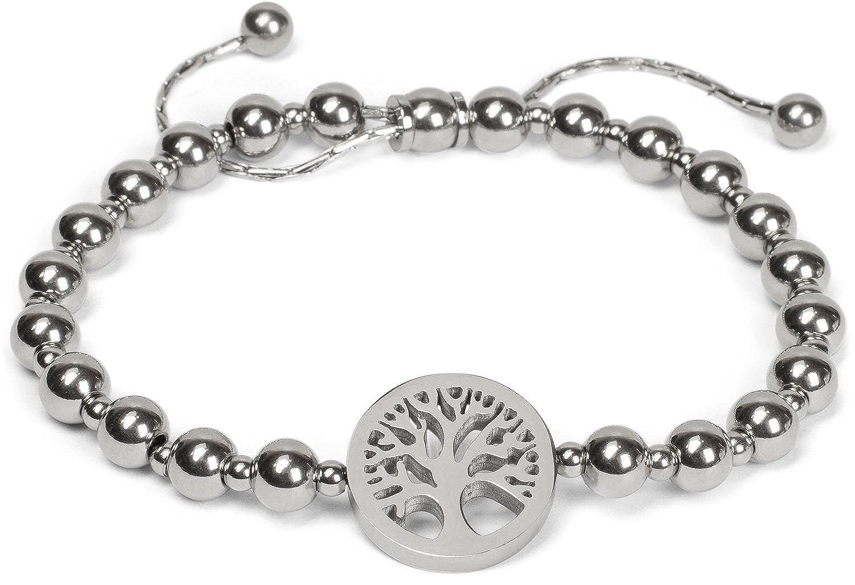 59cf233721e3 styleBREAKER pulsera deslizante de acero fino con perlas y elemento de  bisutería del árbol de la vida