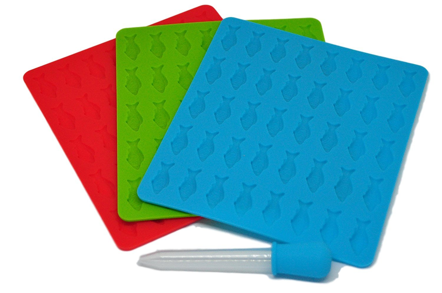 Trusty Goods' ALL-NEW, One-of-a-Kind Gummy Fish Silicone Candy Mold: 3 Pack - 1 Red, 1 Green, and 1 Blue Tray Per Set + 1 FREE Dropper + FREE Recipe PDF
