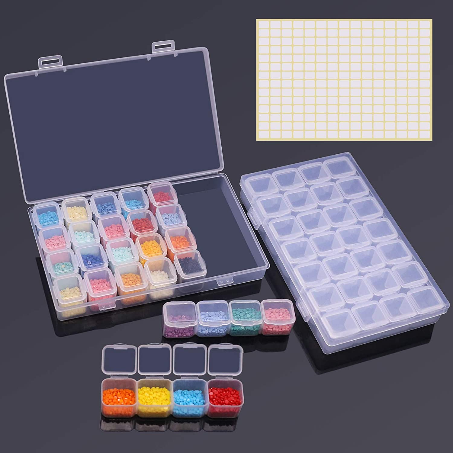 Storage Box Drill Diamond Painting Accessory Transparent Container Tool 28 Slots
