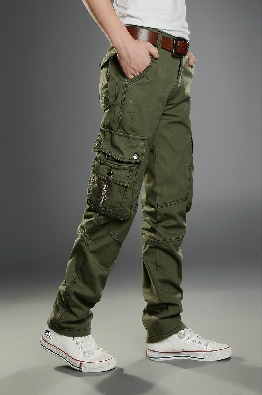 YUNY Mens Multi-Pocket Work Wear Long Straight Comfortable Cargo Pants Green 29