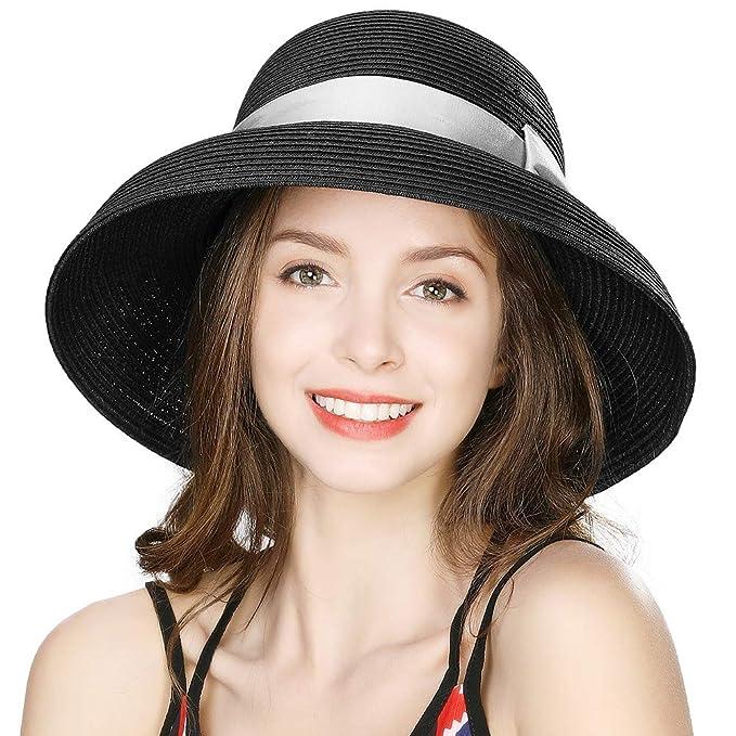 fee87f2fd Siggi Womens UPF50 Foldable Summer Sun Beach Straw Hats Accessories Wide  Brim