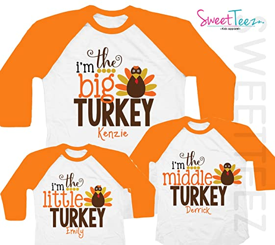 5e3254b71 Amazon.com: Turkey Shirt Set Of 3 Thanksgiving Shirt Set Personalized with  Name Orange Raglan Kids Shirts: Handmade