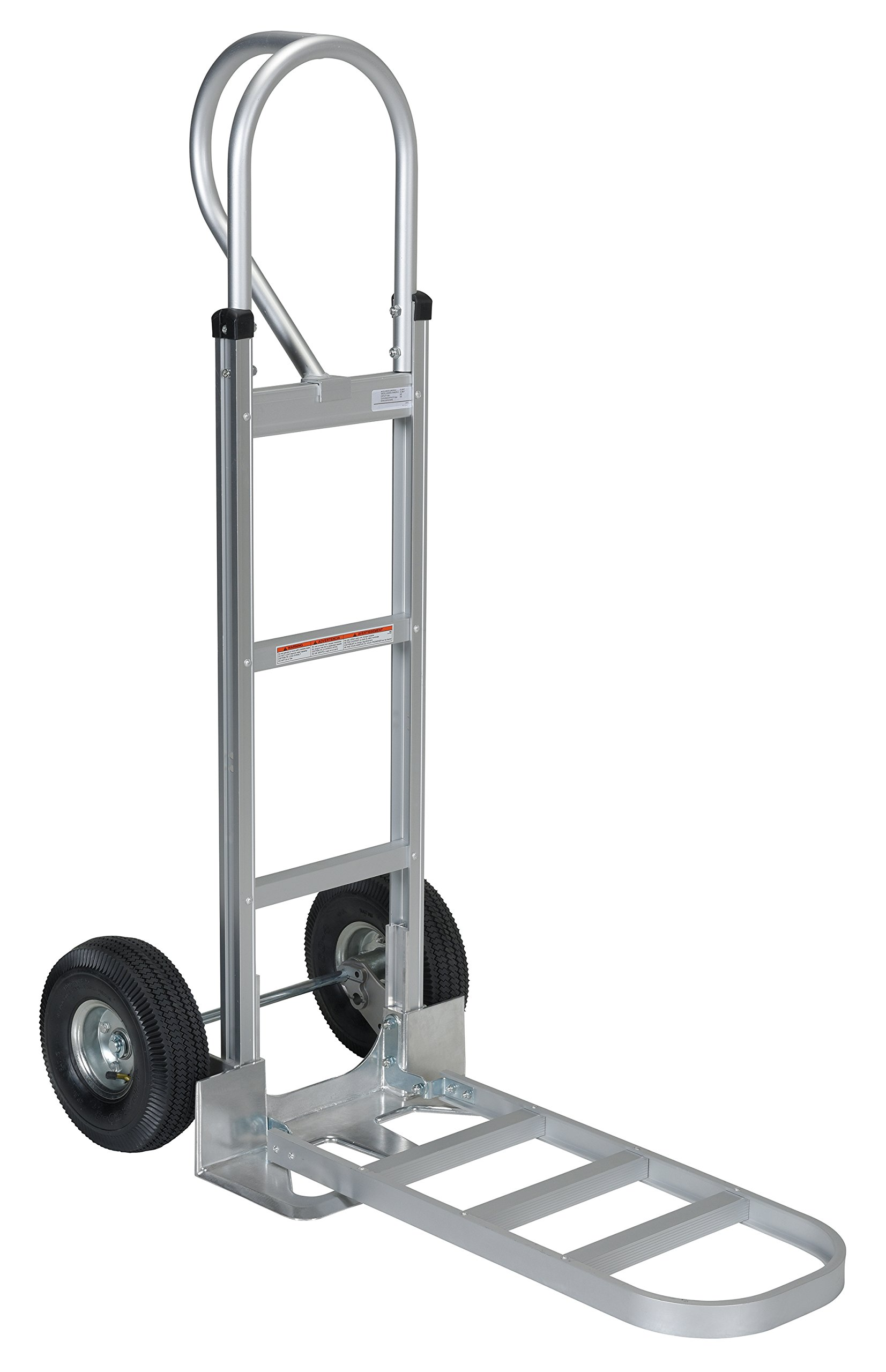 Vestil APHT-500A Aluminum Hand Truck with P Handle, Pneumatic Wheels, 300 lbs Load Capacity, 50-1/2'' Height, 20'' Width X 19'' Depth