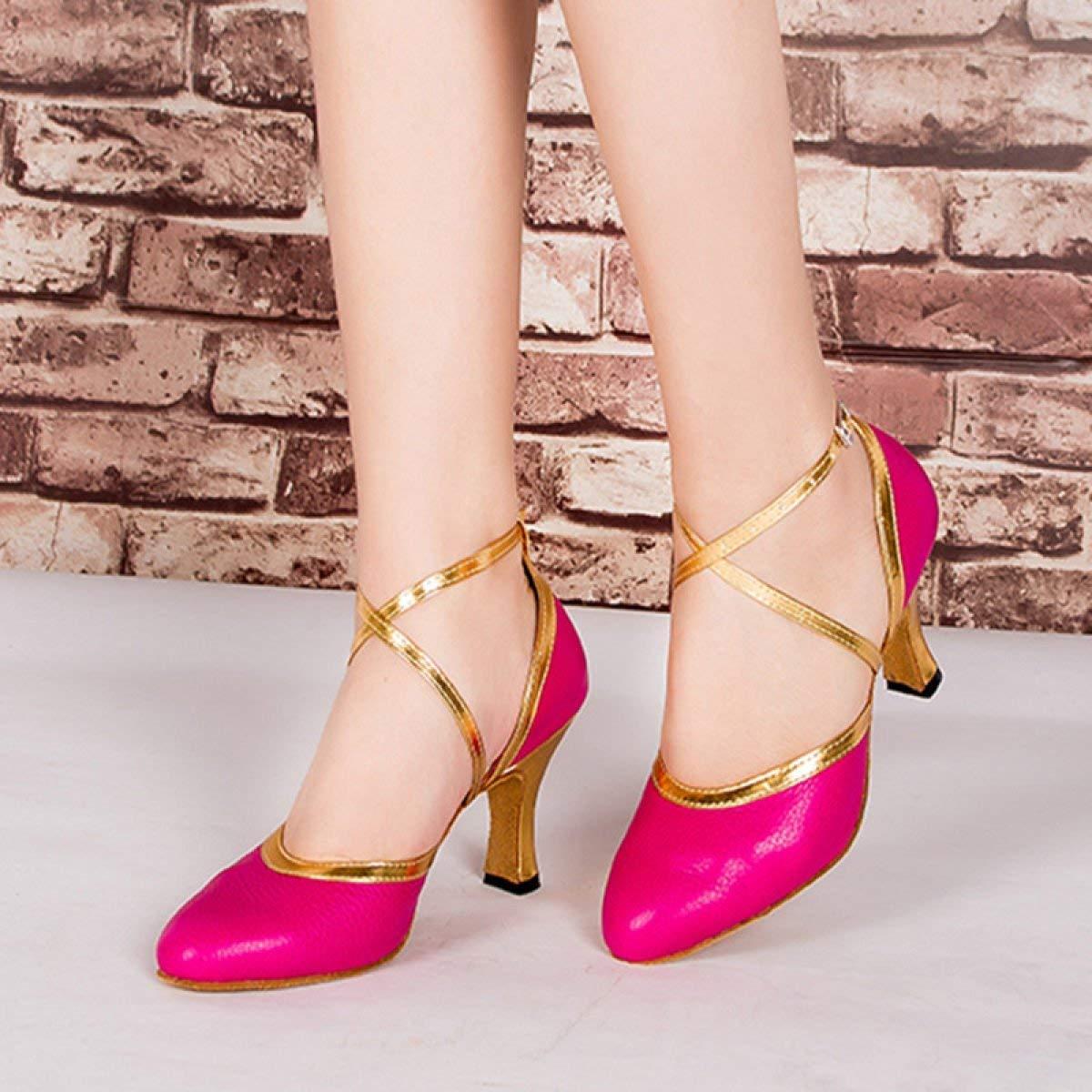 Damen Latin Dance Closed Toe High Heel UP Leder Glitter Tango Salsa Tango Glitter Moderne Ballrom Mary Jance Tanzschuhe WeißHeeled6cm-UK5.5   EU38   Our39 ( Farbe   Rosaheeled8cm  Größe   UK3 EU33 Our34 ) afe05d