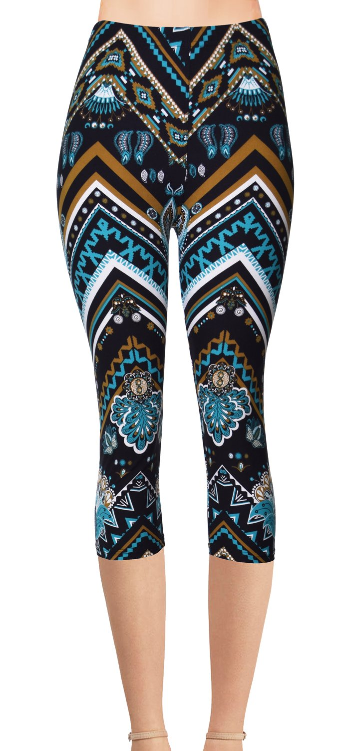 VIV Collection Plus Size Printed Brushed Capris (Chevron Astromite)
