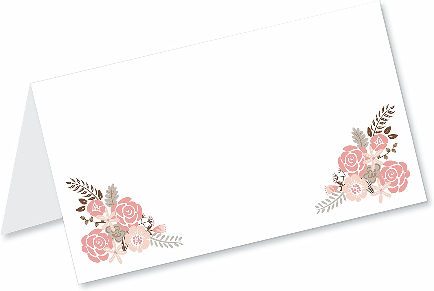 Old Blue Door Invites Boho Floral Blank Tented Table Place Cards (50 Count) - Fold Over Tent Style - Wedding, Bridal Shower, Dinner Party Banquet Event Place Seating Cards
