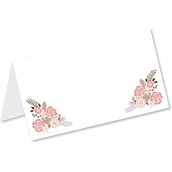 boho floral blank tented table place cards 50 count fold over tent style - Table Place Cards