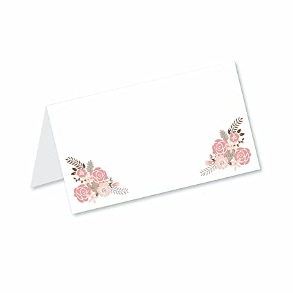 boho floral blank tented table place cards 50 count fold over tent style