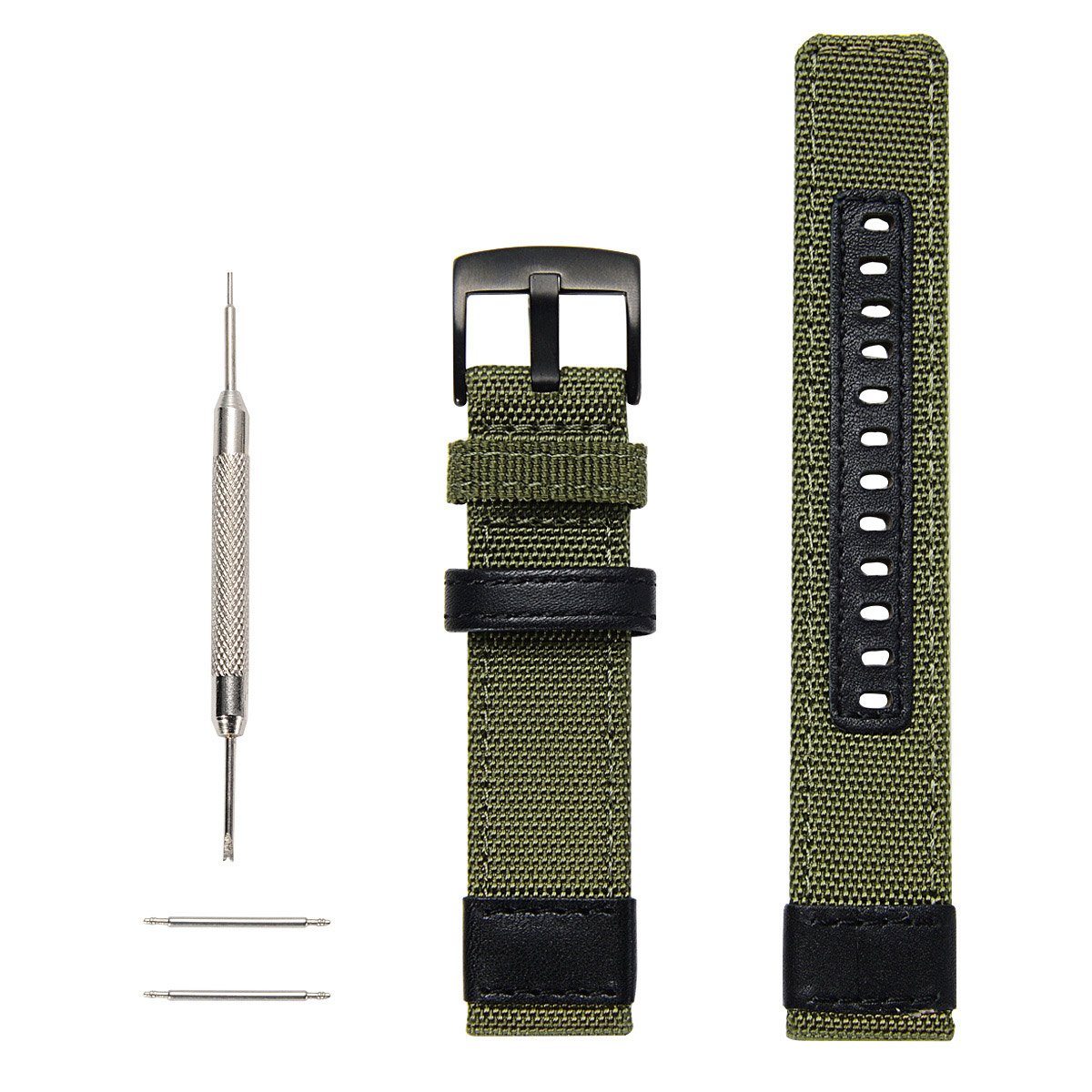 Gear S3 Bands Nylon, Maxjoy S3 Frontier Classic Band 22 mm Woven Nylon Replacement Strap Large Sport Wristband Bracelet with Stainless Steel Metal Buckle for Samsung Gear S3 Smart Watch, Army Green by Maxjoy (Image #4)