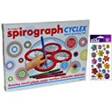 Spirograph CYCLEX Spiral Drawing Tool Kit _ Bonus Colorful Vladis Flowers 3 Dimensional Sparkle Sticker Kit Set Of 23