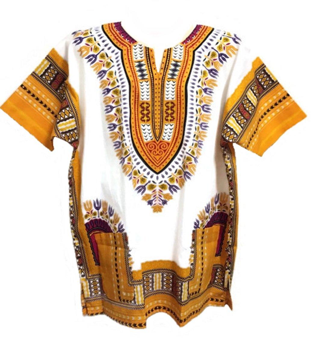 Vipada Handmade Dashiki Shirt African Caftan Unisex Large Size White and Yellow L