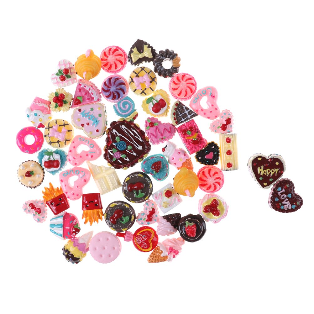 50Pcs Mix Lots Resin Flatback Ice Cream Bread Pizza Food Fruit Flower Charm Art Album Flat Back Phone Scrapbooking Hair Clip Hairpin Sewing DIY Craft Accessory Jewelry Decoration Dollhouse Ornament