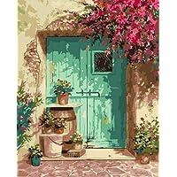 ZLXSAM Pintar con Numeros Flor Roja-H con Pinceles